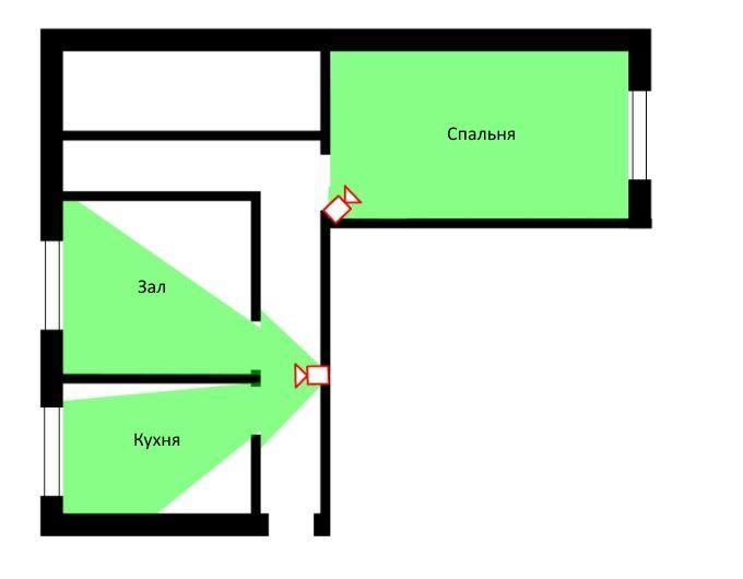 Схема расположения камер в квартире